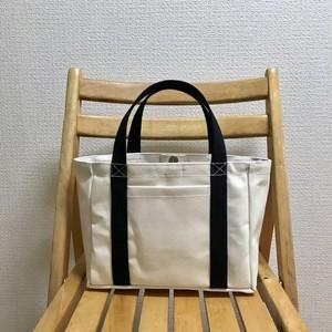 「軽いボックストート」小サイズ「生成り×ブラック」帆布トートバッグ 倉敷帆布8号