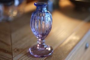 ◆森永豊 **モリナ透明硝子工房** <吹き硝子>◆◆◆重ね巻き小花瓶・瑠璃◆◆◆