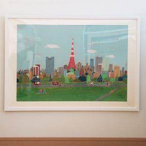 原画「東京の街」A2 フレーム付き
