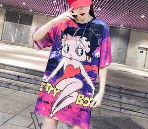 大きいサイズ レディース ベティ柄トップス Tシャツ 春夏 半袖 キャラクター 【S891017】