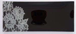 ガラストレー #82218S 黒(長方形皿ハーフレースタイプ)