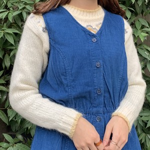 (LOOK) corduroy front button n/s one-piece