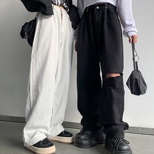 【ボトムス】大活躍韓国系レギュラー丈ダメージ加工ハイウエストカジュアルパンツ41443328