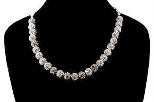 ラインストーンパヴェボールネックレス pve-neckblackdiamond25 ブラックダイヤモンド パヴェ キラキラ