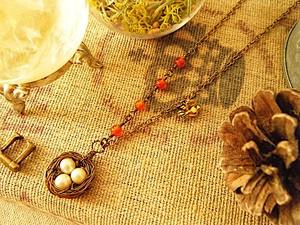 淡水パールの鳥の巣ネックレス(カーネリアン)