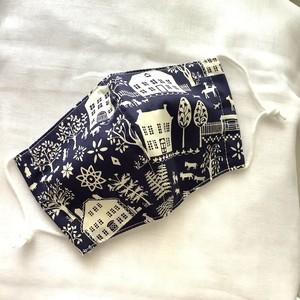 【送料込み】大人サイズ 布マスク カバー オリジナルクリエイター作品北欧風の町の柄ネイビー