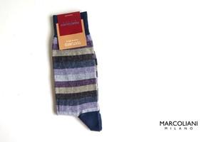 マリコリアーニ|marcoliani|クルー丈ボーダーソックス|Tonal stripe|Denim lavender