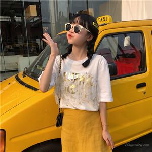 【トップス】春夏メッシュ切り替えしカジュアルラウンドネック半袖Tシャツ