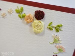 お花フレームのカード[ワインレッド]