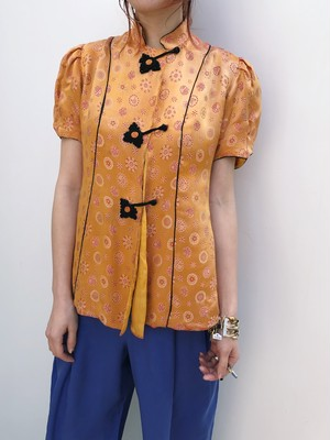 Vintage Chinese orange floral blouse ( ヴィンテージ チャイナ 山吹色 花柄 ブラウス