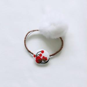 Czech glass button hair tie