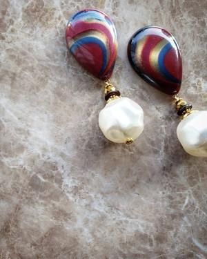marble drop(Bordeaux) × gold × big pearl