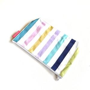北欧デザイン PVCポーチ | Lサイズ | pastel stripe