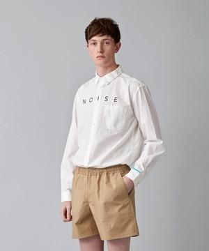 製品染めロゴプリントボタンダウンシャツ(オフホワイト)