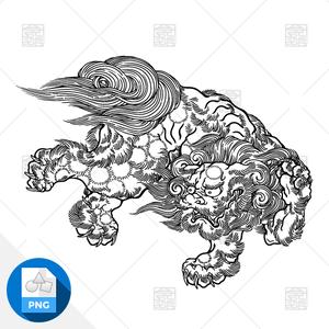 【png画像素材】唐獅子3 Mサイズ  横1500px × 縦1134px