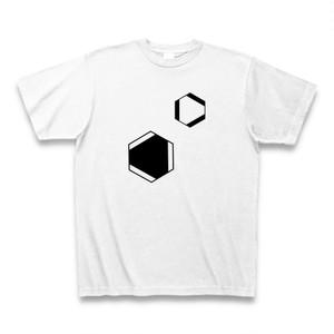 理系Tシャツ【ベンゼン環/2つ/白】-(Scien-T'st)Benzen/two/white