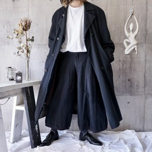 oversized black long double chester coat with lining