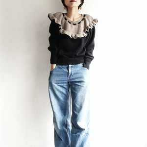 Japanese used vintage ruffle sweater