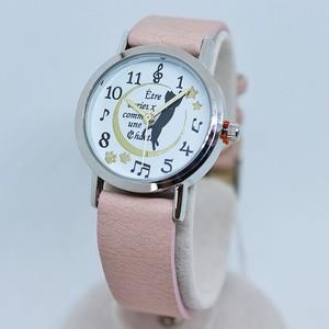 ネコ腕時計伸び(ピンク)【肉球 猫柄 時計】
