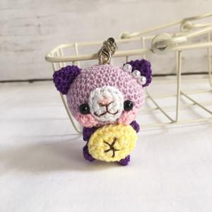 【受注生産】バナナ・紫系のネコさん*鈴付きイヤホンジャックストラップ