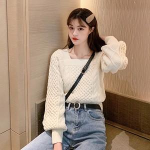 【トップス】ファッションスクエアネックランタンスリーブニットセーター