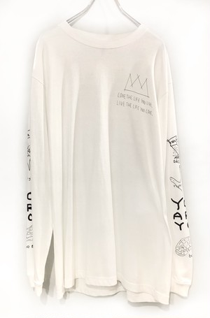 OMIYAGE POSITIVE GRF L/S TEE WHITE