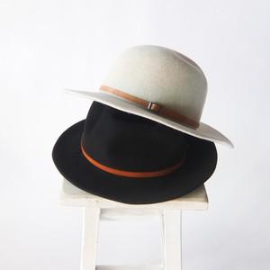 石田製帽 - ラビットファー レザーベルトハット - Beige / Black