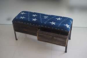 品番UAI2-124  2drawer ottoman[narrow/African indigo batik tribal]