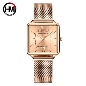 日本クォーツムーダイヤルローマ広場の時計ケースstanless鋼ファッション腕時計レディースローズゴールドは、女性の1082CCWFF