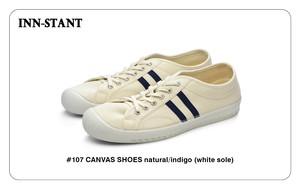 #107 CANVAS SHOES natural/indigo (white sole) INN-STANT インスタント 【消費税込・送料無料】