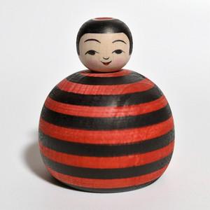 黒赤ボーダーえじここけし 約2寸 約6.8cm 山谷レイ 工人(津軽系)#0175