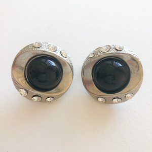 silver & black button earring[e-1359] ヴィンテージイヤリング