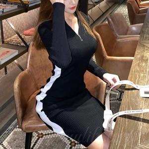 【ワンピース】気質満点韓国系Aライン長袖無地ファスナーセクシーワンピース34812199