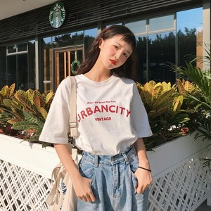 【トップス】アルファベットラウンドネックプルオーバーシンプル半袖Tシャツ