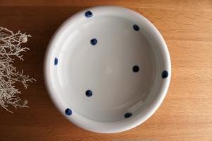 砥部焼/玉縁8寸鉢/水玉/梅乃瀬窯