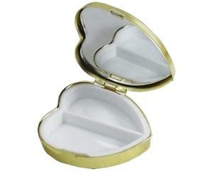 鏡付き携帯ピルケース  ハート型 ゴールド SA-P729