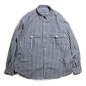 Porter Classic - ROLL UP GINGHAM CHECK SHIRT ポータークラシック ロールアップ ギンガムチェック シャツ - NAVY [PC-016-1544]