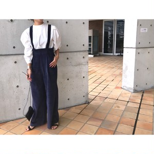 corduroy high-waist salopette (blue)
