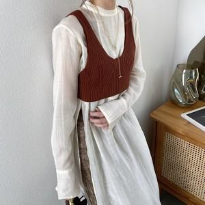 stretch rib knit bustier/teracotta