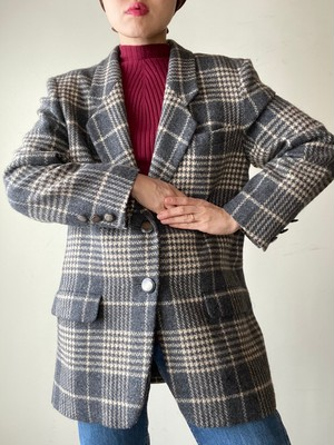 Vintage JAEGER Check Wool Tailored Jacket