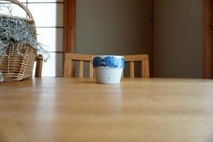 砥部焼/段付きカップ/ブルー木の葉/森陶房