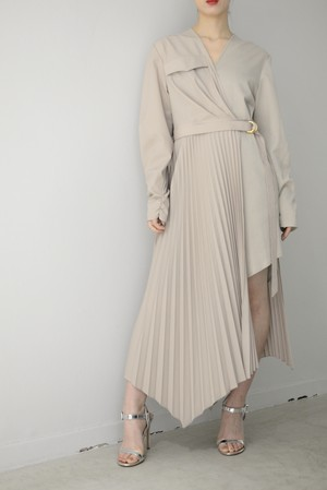 STAIR / PLEATED WRAP RIB DRESS