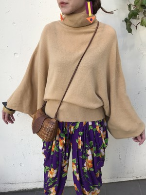 Vintage beige wide sleeves wool knit tops ( ヴィンテージ ベージュ ワイドスリーブ ウール ニット トップス