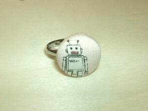 「ロボット[pink]」柄の指輪