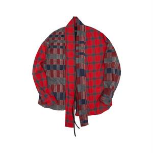Ubaneck Gown Shirt_red/indigo ミックスガウンシャツ