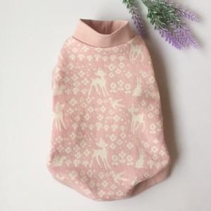【再販】バンビ・ウサギ・リス柄 ワンピース ピンク系(犬服)