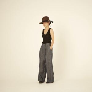 women's linen denim wide pants