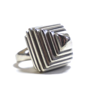Vintage Sterling Silver Modern Geometric Pyramid Ring