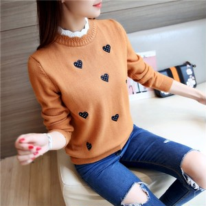 【tops】Fashion standing collar heart print sweater