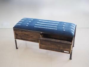 品番UAI2-109  2drawer ottoman[nerrow/African indigo batik tribal]